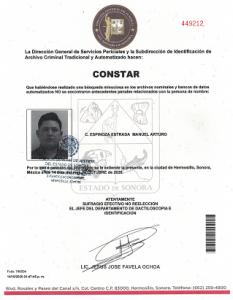 Carta No Antecedentes penales